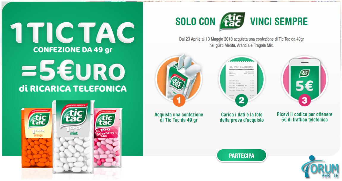 Con TIC TAC Ricevi 5 EURO Di Ricarica Telefonica