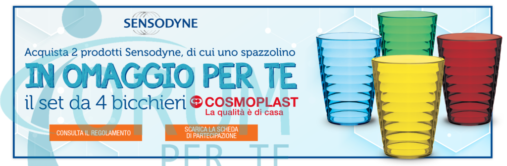 Sensodyne ti Regala 4 Bicchieri Colorati